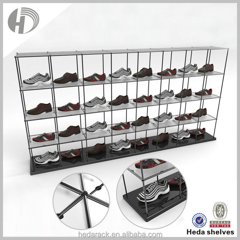 Double-sided retail folding metal jordan shoe display rack
