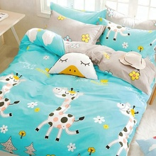 lovely cartoon animal print polyester microfiber fabric double design for children bed sheets