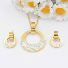 Latest style high quality circular shape german reinforcement stainless steel jewelry set