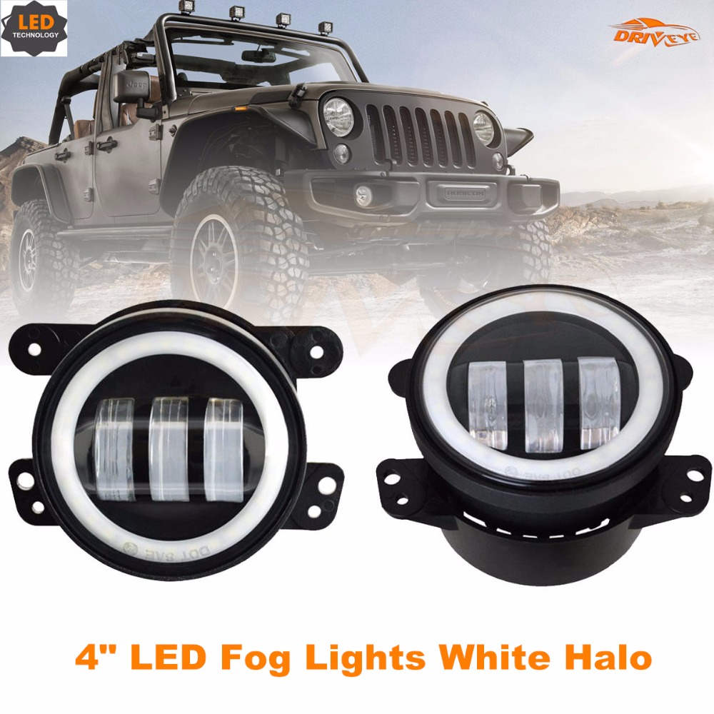 "Driveye 4"" <strong>auto</strong> off road front bumper LED fog light projector lens white halo for jeep wrangler Dodge Chrysler"