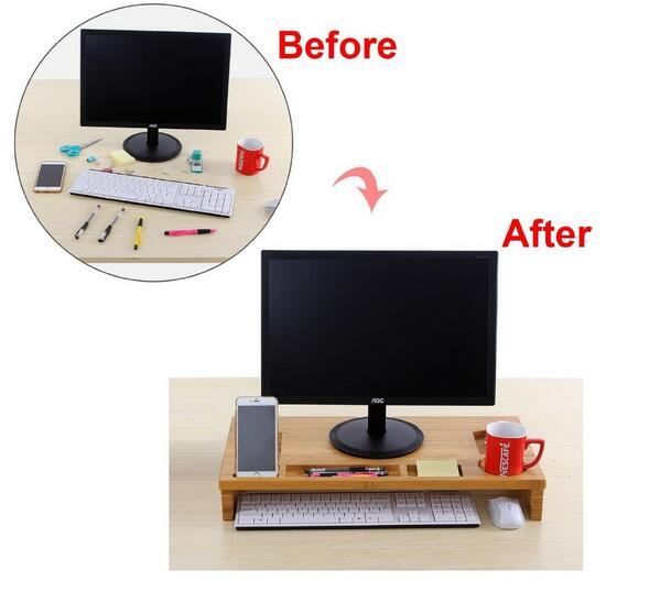 Monitor Stand with Keyboard Storage Computer Monitor Screen or LCD Television Riser Shelf