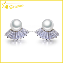 wholesale women aaaaa cubic zirconia 925 sterling silver stud pearl earrings 14k gold