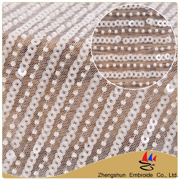 2017 Alibaba hot textile white stripe sequin polyester embroidery swiss beaded heavy lace fabric