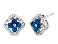 Blue Sapphire Clover Earrings indian fashion bridal jewelry online