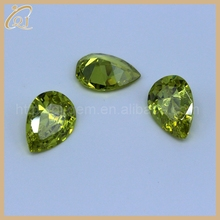 Wholesale price CZ olive yellow pear cut cubic zirconia for fashion jewelry