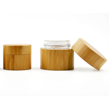 Wholesale 50g wood bamboo <strong>glass</strong> cosmetic <strong>jars</strong>/bottles