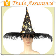 Wholesale Halloween girls witch hat with curly pink hair wig attached