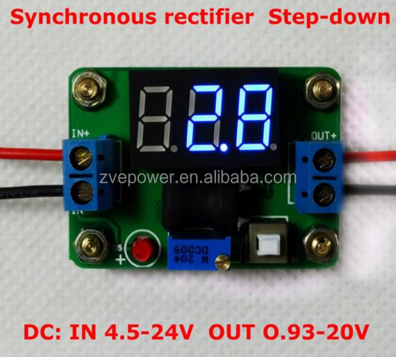 DC-DC rectifier Buck power converter adjustable 4.5-24v to 0.93-20v step down power module with voltmeter