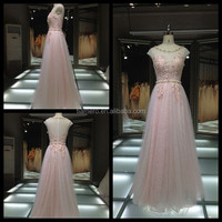 1A145 Delicate Pearl Waist See Through Pink Evening Dress Prom Dress