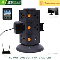 250V 10A vertical electric multiple outlet cable extension socket with usb