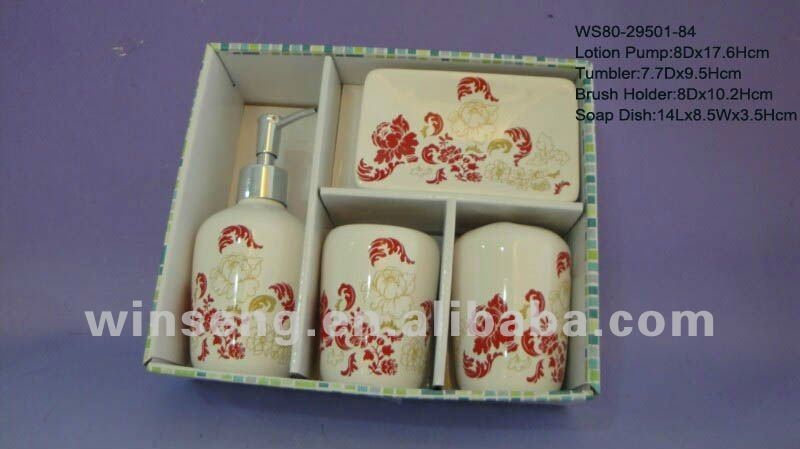 Hot Sale Ceramic Elegant Floral Pattern Bathroom Set 4pcs