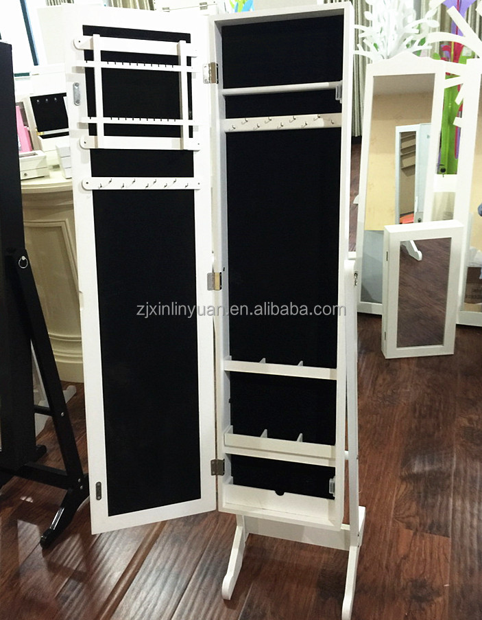 Wooden standing jewelry armoire mirror in white
