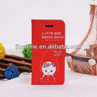 FL2754 2013 China new product Little Red Riding Hood PU Leather Stand Smart Cover Case for iphone 5s