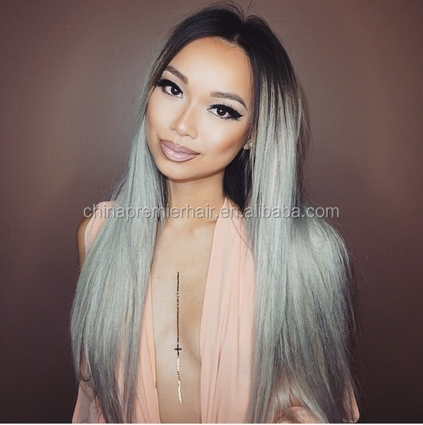 virgin brazilian hair ombre natural color to silver grey human hair lace wigs