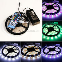 5m 5050 RGBW led strip 60leds/m 5050 led strip 300leds rgb waterproof,WhitePCB, with 44 keys IR Remote controller