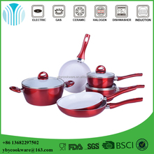 Durability 9PCS red forged aluminium white ceramic coating cookware sets