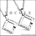 Solitaire Hollow Square Pendant Silver Couple Stainless Steel Necklace