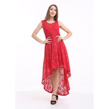 YILEYA Manufactures designs knee length red dresses ,girls red lace short front long back dress