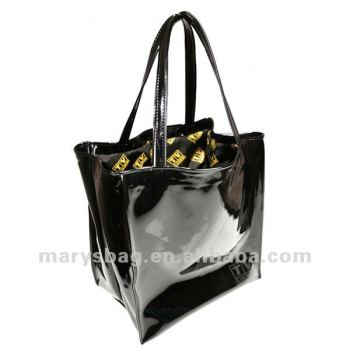 Black PVC Patent Vinyl open tote with fully printed nylon liner