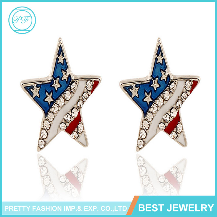 Jewelry Manufacturer Fashion American Flag Earrings Pentagram Diamond Stud Earrings