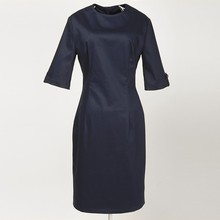 women's party cocktail bridal pinup pencil navy blue 3/4 sleeves vintage dress