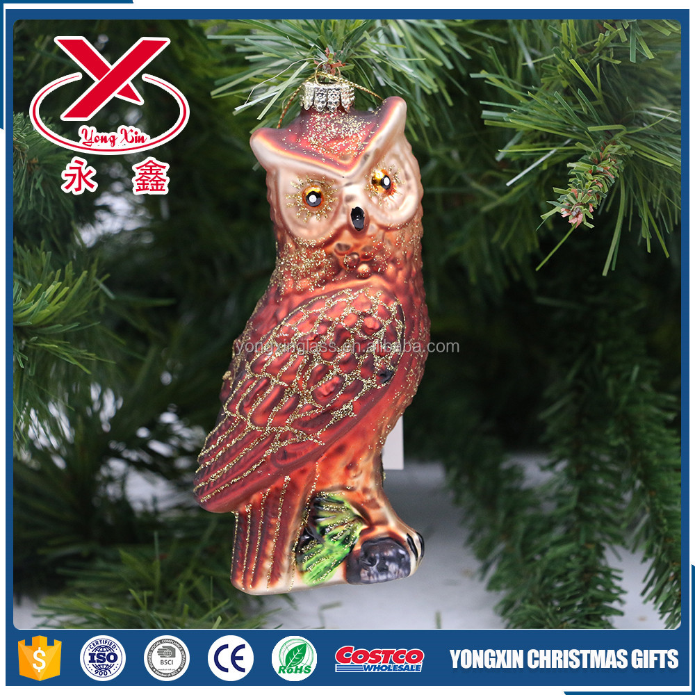 Blown small glass owl animal figurines christmas hanging tree decorations