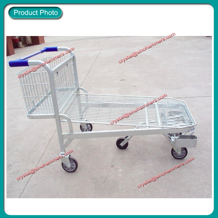4 Wheels Warehouse Platform Cargo Transport Trolley Cart
