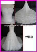 2014 Guangzhou spring high quality good price ostrich feather wedding dress VA023