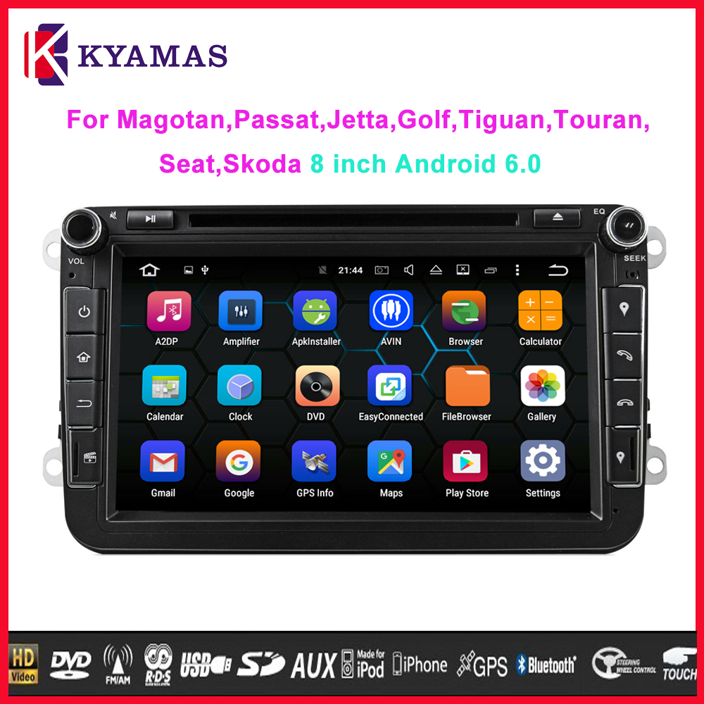 Android 6.0 Octa-core 2G RAM in Dash Car DVD 2din Car Audio GPS Navigation Stereo Player for VW