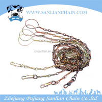 2015 fashion rainbow color dog chain with ring steel dog chain