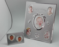 AAAA quality 100% baby metal photo frame with Memorable Luxury Sliver Plated Baby Picture Frame