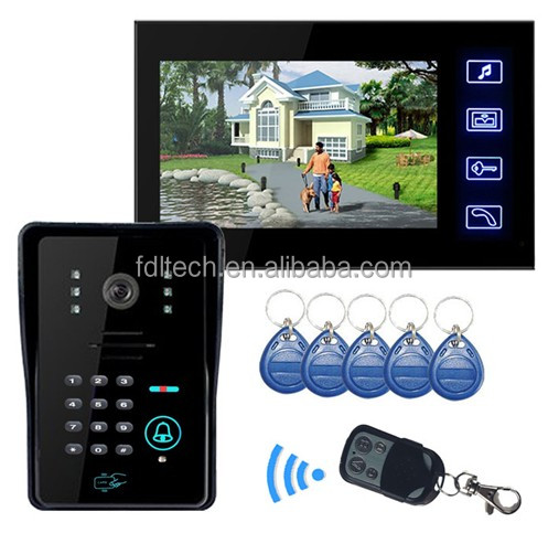 "7""inch 4 wire video door phone /intercom system for large apartment,Video Intercom For Apartments Touch Screen"