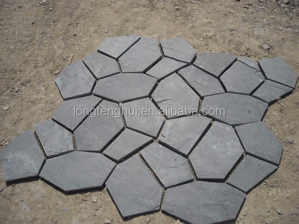 cheap price Natural grey slate flagstone pattern garden road paving stone