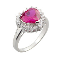 Wholesale Platinum Plate 925 Sterling Silver Red Corundum Radiant Cut Heart Zirconia Women Rings Size6-9