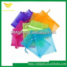 Colored drawstring organza hair packaging bag