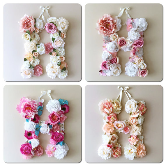 Aidocrystal Handmade Floral letter wall decor Custom Name Flower covered Letter H