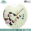 12 inch butterfly design glass wall clock , large round oem chrome wall clock