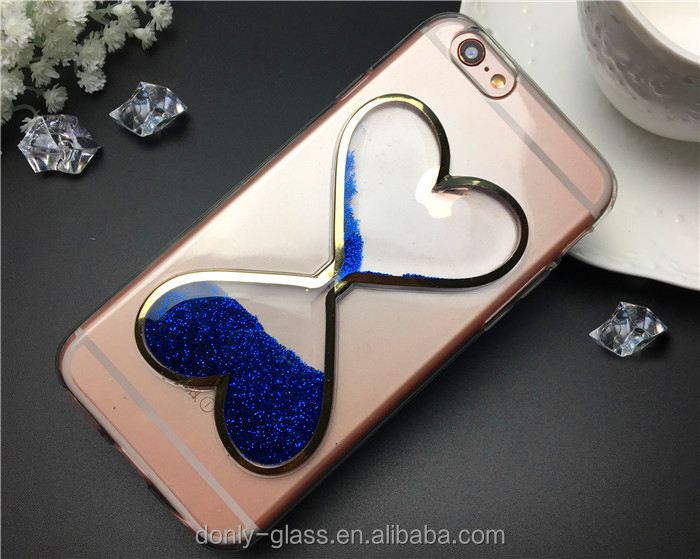 Sapphire blue liquid quicksand TPU + PC phone case for Iphone 6/6s/6Plus/ 7/7Plus