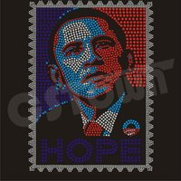 Barack Obama stamp heat fix rhinestone design