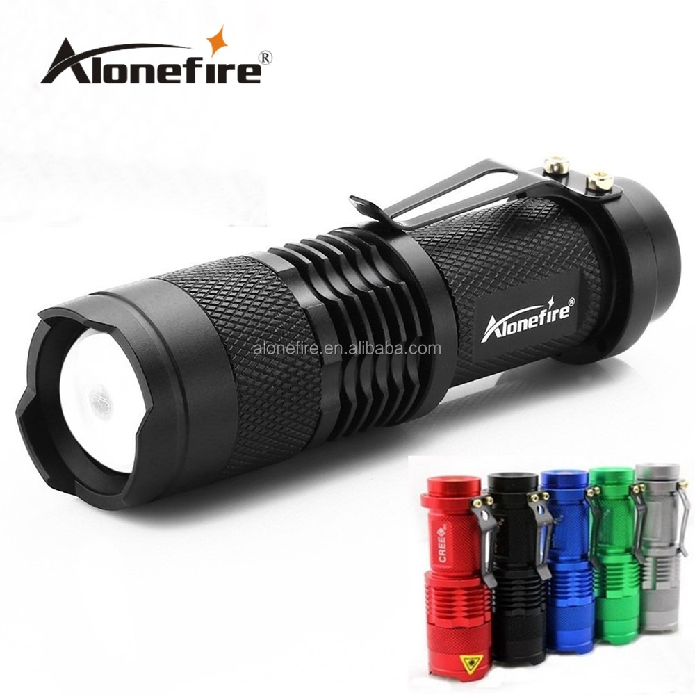 ALONEFIRE SK68 XPE Q5 LED 3 model Portable Zoomable Mini Flashlight torches Adjustable Focus flash Light Lamp For AA or 14500