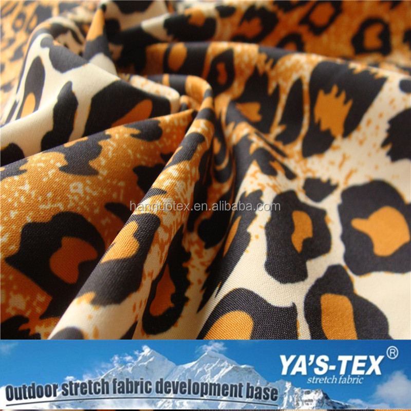 Sexy fashion 4 way stretch dry tech fabric leopard print fabric for shorts outdoor garments