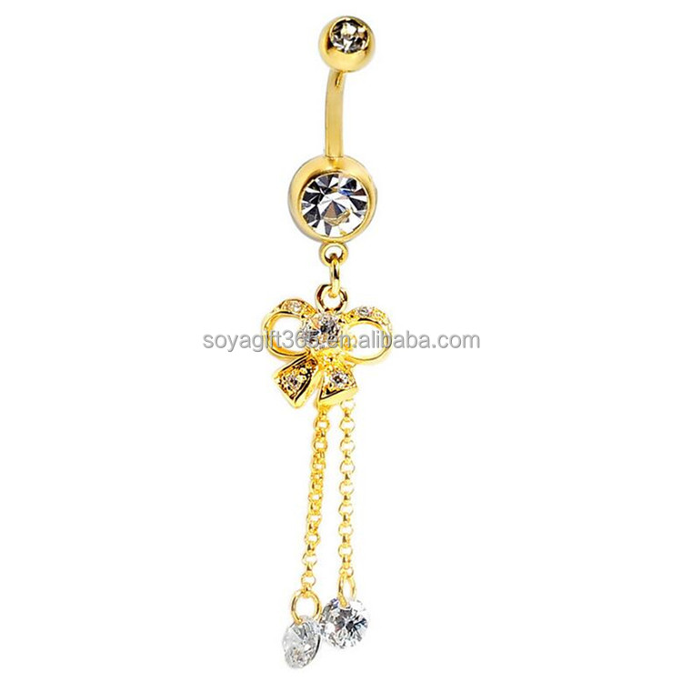 Bowknot Tassel Drop Rhinestone Belly Button Ring body jewelry piercings