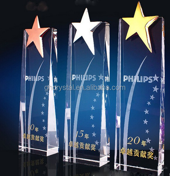 Simple Crystal plaque with engraving and popular star crystal trophy