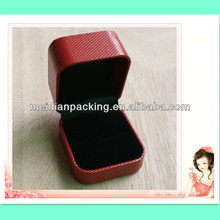 Top quality square leatherette paper ring case plastic jewelry packaging handmade box