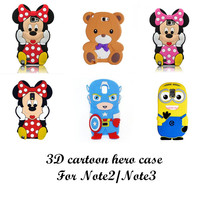3D cartoon animal series soft silicone case For Samsung galaxy Note2 N7100/Note3 N9000 note 4 note5
