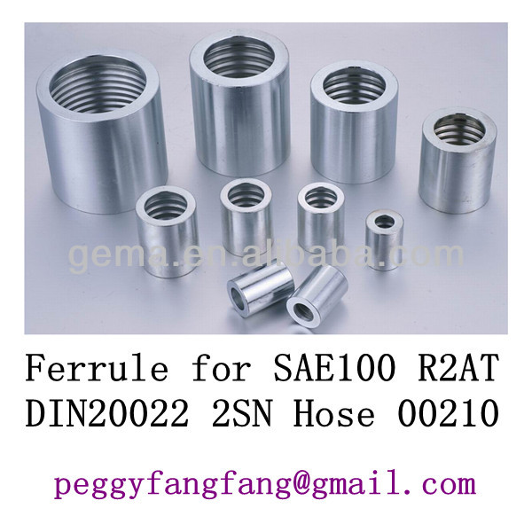 stainless steel crimp sleeve For 4SH R12/32 Hose 00210 hydraulic hose fittings - jic fittings with ferrule and sleeve nut