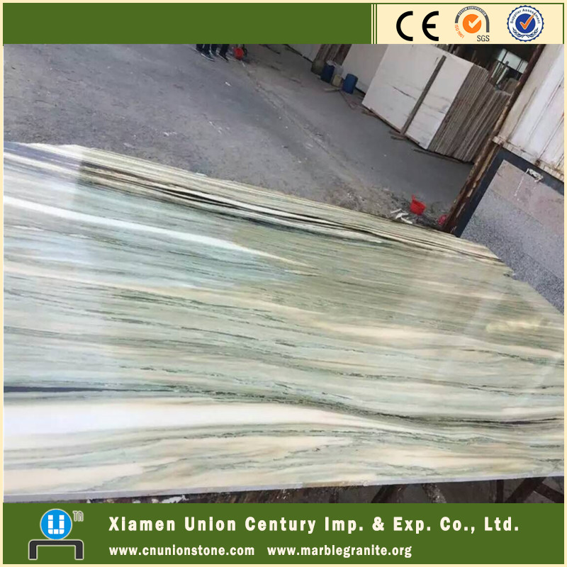 Inlay natural light green marble flooring