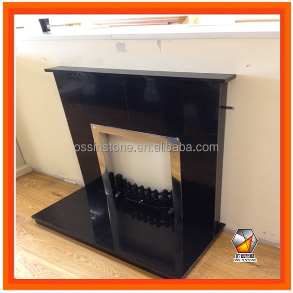 Natural Black Granite Fireplace Back Panel with Shelf