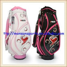 quality pu new design lady golf bag black white fashion