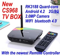 Hot sale high quality sex video free android download google play store RK3188 CS968 tv box with camera